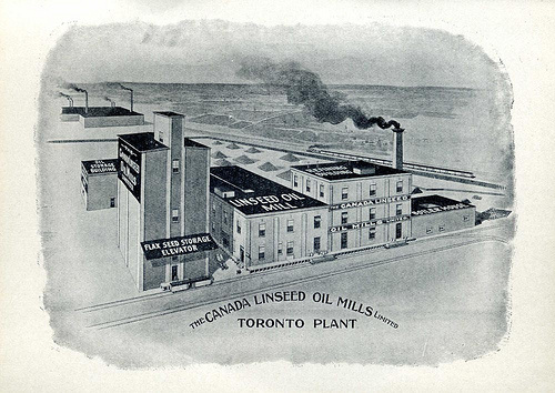 The Canada Linseed Oil Mills property on Wabash Avenue, looking north. The grain elevators are now gone.