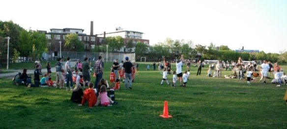 Community soccer is a favourite park activity