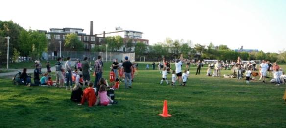 Community soccer is a favourite park activity