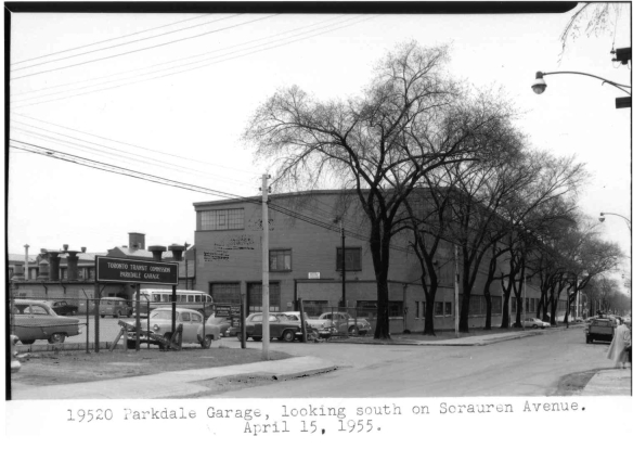 The TTC's Parkdale Bus Garage on Sorauren Avenue, site of the former Dominion Bridge Steel