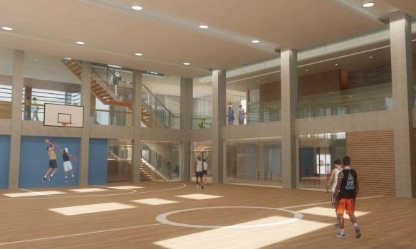 Gym on basement level of Wabash Community Centre, from 2009 study