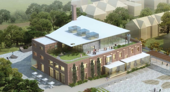 Birds-eye view of the old brick linseed oil mill, re-imagined as the Wabash Community Centre