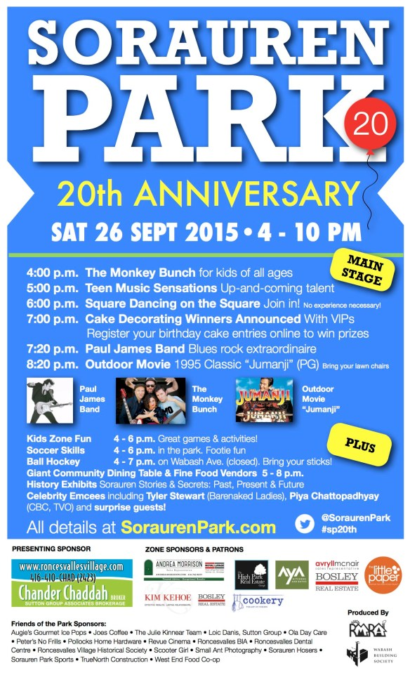 Poster for Sorauren Park 20th Anniversary, September 26, 4 to 10 p.m.