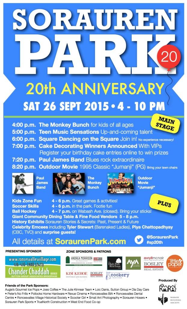 Poster for Sorauren Park 20th Anniversary, September 26, 4 to 10 p.m.
